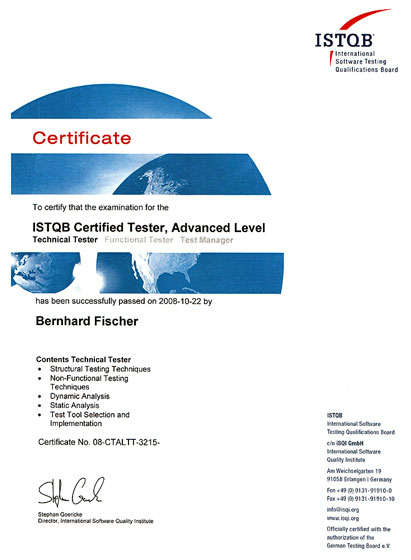 Certificate ISTQB Technical Tester