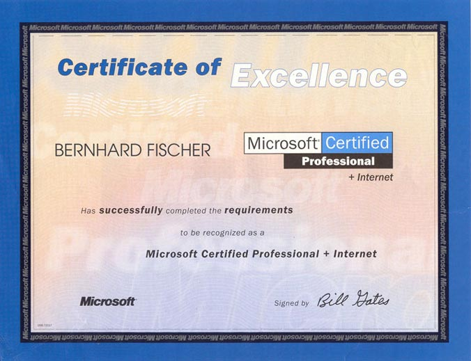 Microsoft Certified Professional + Internet  (MCP+I, 1999)