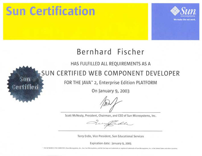Sun Certified Web Component Developer (SCWCD, 2002)